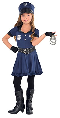 Womens Costume Robber (Amscan Cutie Cops and Robbers Party Policewoman Costume (7 Piece), Navy Blue/Black, Large)