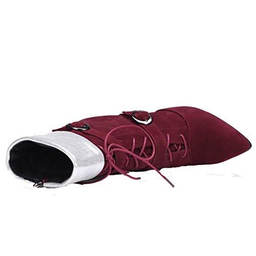 AIYOUMEI Damen Stiletto Stiefeletten mit Schnalle und Schnürung Spitz Zehen Stiefel Schuhe Weinrot