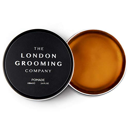 The London Grooming Company Pomade for Men - Strong Hold and High Shine Finish - 3.4oz Water Based Men's Hair Product, Easy to Wash Out - Oud Wood Scent