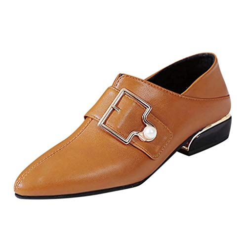 Female Buckle Ankle Shoes, NDGDA Pointed Thick with Low Heel Single Boots (Brown, ()