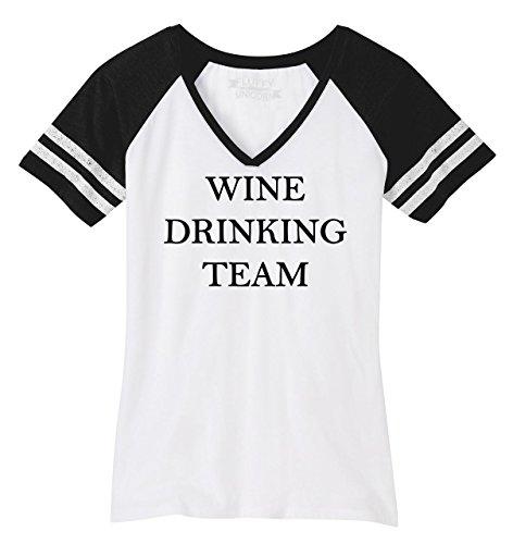 Comical Shirt Ladies Game V-Neck Tee Wine Drinking Team Tee White/Black M (Drinking Light Team T-shirt)