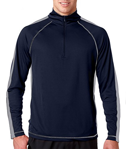 8398 UltraClub Adult Sport 1/4-Zip Pullover With Side & Sleeve Panels , Navy/ Grey , Large