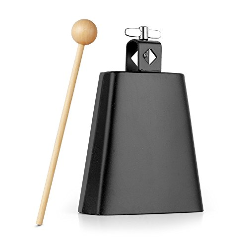 Cowbells Drums (Vangoa - 5 inch Metal Steel Cow Bell Noise Maker with Handle for Drumset Kit Percussion)