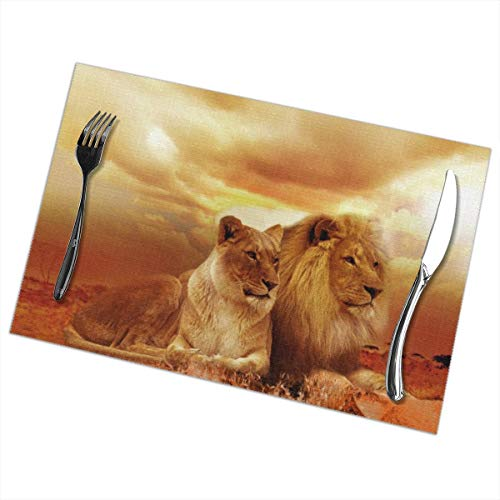 (Greatmindo Placemats for Dining Table Set of 6 Lion Safari Africa Landscape Steppe Sunset Nature12x18 in Heat-Resistant Washable Stain Resistant Easy to Clean Anti-Skid for Kitchen)