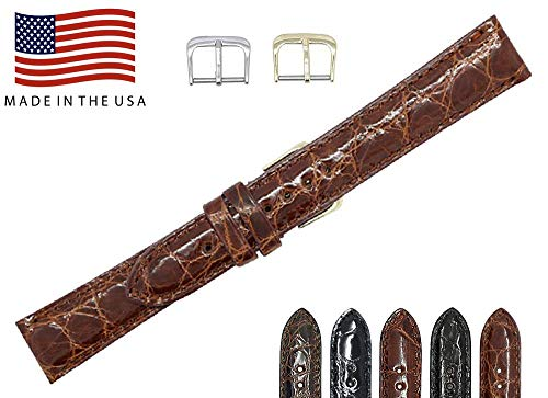 18mm Cognac Genuine Alligator - Padded Stitched - Glazed Shiny Smaller Tile - Watch Strap Band - Gold and Silver Buckles Included - Factory Direct - Made in The USA by Real Leather Creations FBA356