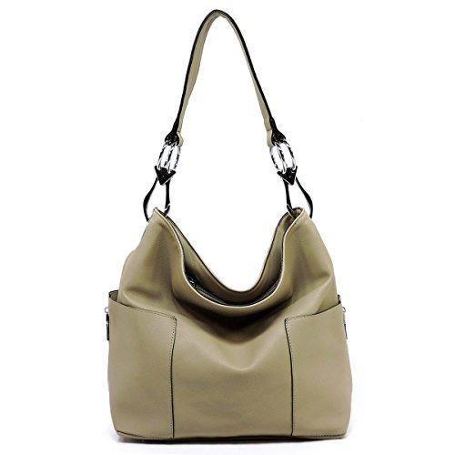 Americana Bucket Style Hobo Shoulder Bag with Big Snap Hook Hardware and Side Zipper Pocket