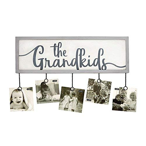 Mud Pie Grandkids Photo Holder Plaque Picture Frame, White/Gray