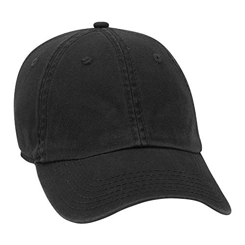 OTTO Comfy Fit Garment Washed Stretchable Cotton Twill 6 Panel Low Profile Baseball Cap (003 - Blk) ()