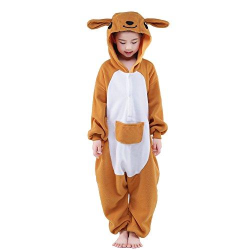 NEWCOSPLAY Unisex Children Animal Pajamas Halloween Costume (125#, Kangaroo) ()