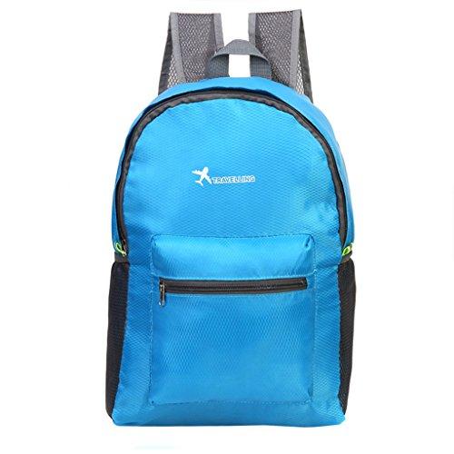 Dabixx viaggio zaino impermeabile leggero pieghevole sport escursionismo campeggio Storage bag-hot Pink, Tessuto Oxford, Blue, 13x18cm/5.12x7.09 Blue