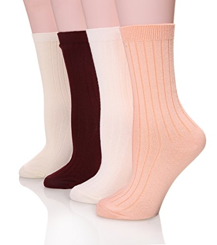 SDBING Women's Premium Winter Warm Wool Cotton Blend Crew Socks Collection (TP88 Wine Red/Pink/Milk (Pink Heart Socks White)