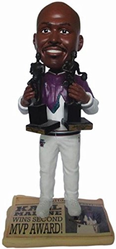 Forever Collectibles Karl Malone (Utah Jazz) 2X MVP Trophy Newspaper Base NBA Legends Bobble Head ()