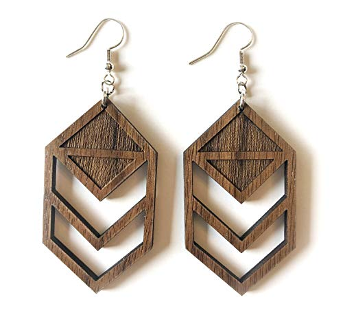 Grounded Goods Design Chevron Cutout Wood Earrings - Wood Earrings Brown