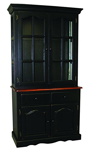 - Sunset Trading Keepsake Buffet and Lighted Hutch, Black/Cherry Finish