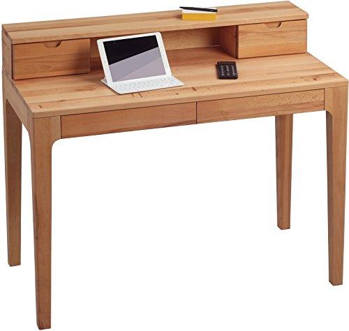 HomeTrends4You 612117 Schreibtisch, 110 x 76/96 x 55 cm, Kernbuche massiv geölt, mit Schubladen