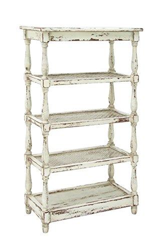 (Deco 79 44419 Tall Distressed White Wood Bookshelf with Pierced Metal Interior Shelves & Turned Column Frame, 30