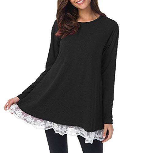 JESPER Women Casual Long O-Neck Sleeve Loose Lace Tops Tunic Blouse Black by JESPER
