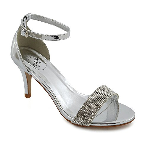 ESSEX GLAM Womens Party Sandals Low Heel Stiletto Peeptoe Ladies Diamante Ankle Strap Shoes Silver Metallic jmJOD6