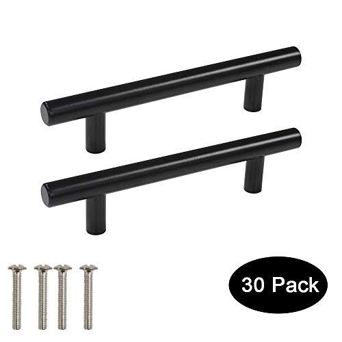 30 Pack Probrico Black Stainless Steel Kitchen Cabinet Door Handles T Bar Drawer Pulls Knobs Diameter 1/2 inch Hole Centers:3-3/4inch-6inch Length