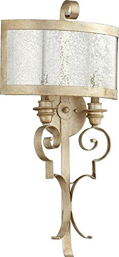Quorum-Two Light Aged Silver Leaf Wall (Champlain Wall Mount)