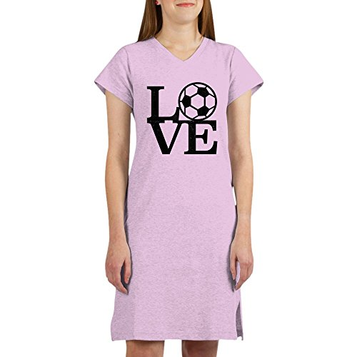 CafePress - Love Soccer - Women's Nightshirt, Soft Long Pajama Shirt, Cotton PJs/Pyjamas Pink