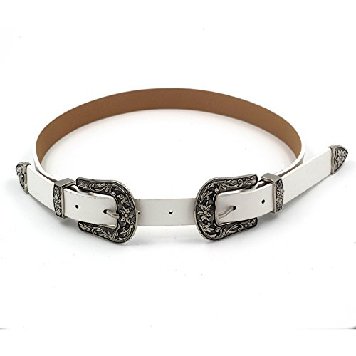 MoYoTo Women's Fashion 25mm Retro Carved Double Buckle Western Thin Leather Belt (Retro Buckle)