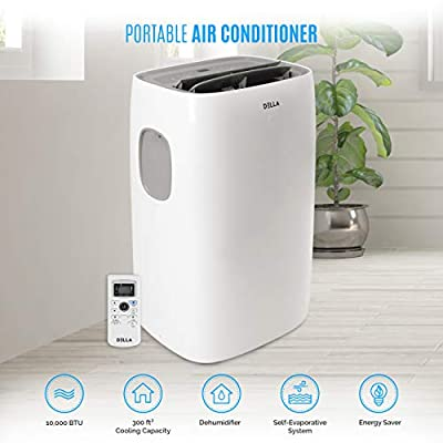 DELLA 8000 BTU Portable Air Conditioner Cooling for Rooms Up To 350 Sq. Ft. Fan Dehumidifier Timer Remote Control Wheels Window Vent Kit UL Listed