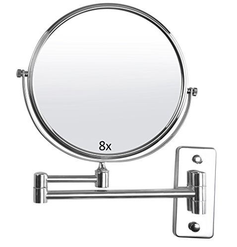 Lieven 8X Magnifying Wall Mount Makeup 8 Inch Two Sided Swivel Mirror for Bathroom, 12 Inch Extension, Chrome Finish