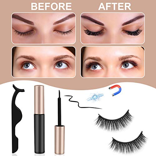 Upgraded 3D Magnetic Eyelashes and Magnetic Eyeliner Kit, 5 Pairs Reusable Magnetic Eyelashes with 2 Tubes of Magnetic…