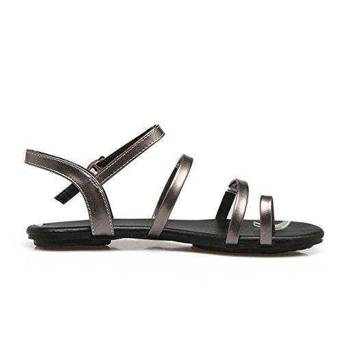 TAOFFEN Women Fashion Strap Sandals Flats Gun Iw4eknTh4u