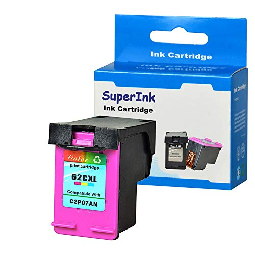 SuperInk 1 Pack Compatible for HP 62XL 62 XL Tri-Color High Yield Ink Cartridge (C2P07AN) use in HP Envy 5540 5541 5542 5548 5660 5665 7640 7644 7645;Officejet 200 250 258 5740 5741 5746 8040 Printer