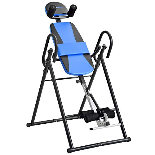 Rhomtree Folding Inversion Table Back Stretching Machine for for Back Pain Relief Therapy Heavy Duty Fitness Gravity Upside Down Table (Blue)