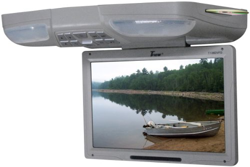 "TVIEW Gray 13"" Flip Down Car Monitor w/DVD Player USB"