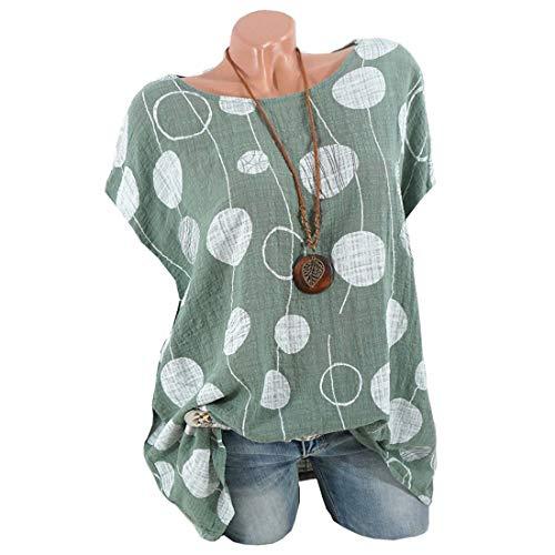 (Dot Print Short Sleeve Blouse Women Casual Shirt Plus Size Tops)