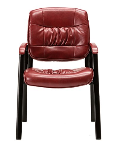 BTEXPERT Premium Leather Office Executive Waiting Room Guest/Reception Side Conference Chair, Burgundy by BTEXPERT