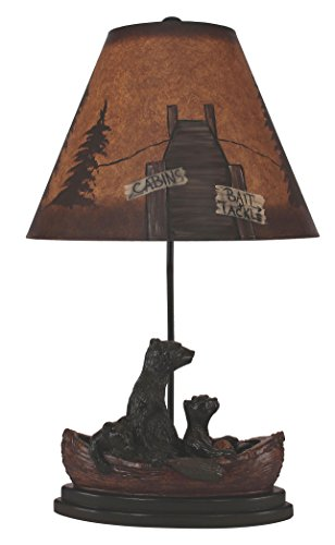- Coast Lamp Antique Riverwoods Bear Family In Canoe Table Lamp