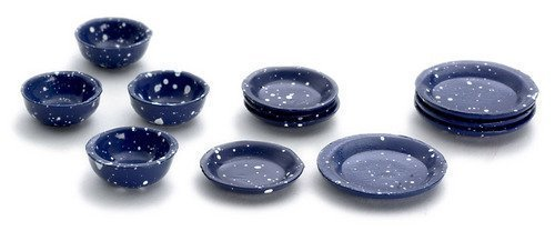 Dollhouse Miniature 1:12 Scale 12 Pc Blue Spatter Dishes SET #D2762 from Town Square Miniatures