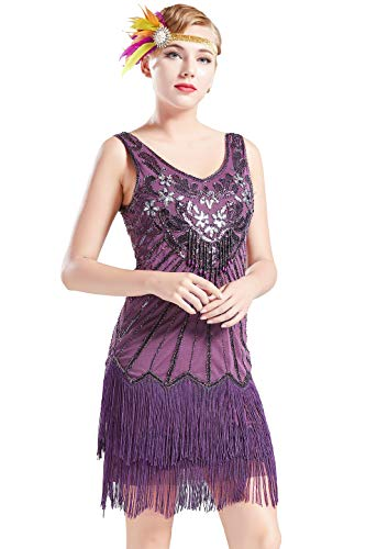 BABEYOND Women's Flapper Dresses 1920s V Neck Beaded Fringed Dress Dress Great Gatsby Dress (Purple, -