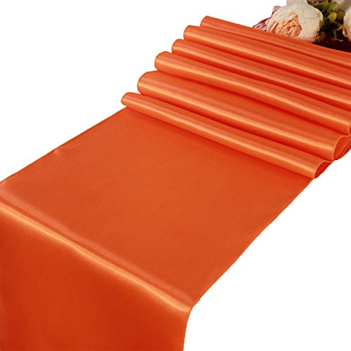 Orange Satin Table Runners - 10 pcs Wedding Banquet Party Event Decoration Table Runners (Orange, 10) (Orange Table Runner)