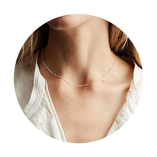 Pop Dazzle Sterling Silver Choker Necklace Simple Dainty Minimalist Tiny Necklace Chian Choker Necklace for Women