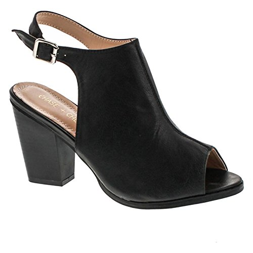 Open Back Ankle Boots (Chase & Chloe Willy-5 Women's Slingback Buckled Open Heel Chunky Ankle Booties,Black,10)