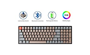 Keychron K4 Mechanical Keyboard, Wireless Mechanical Keyboard with RGB Backlight/Gateron Blue Switch/Wired USB C / 96% Layout, Bluetooth Gaming Keyboard for Mac Windows PC Gamer
