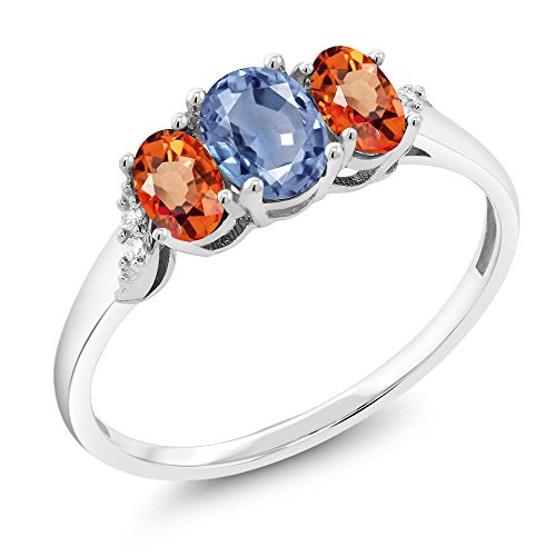 10K White Gold 1.12 Ct Blue Sapphire Orange Sapphire 3-Stone Ring With Accent (Diamond Orange Sapphire Gold Jewelry)