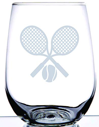 IE Laserware Tennis anyone? Etched on this 17 ounce stemless wineglass.