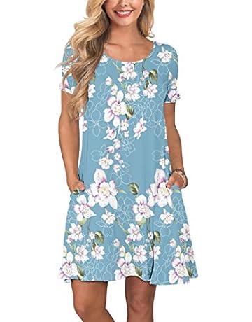 4649639e3a53a KORSIS Women's Summer Casual T Shirt Dresses Short Sleeve Swing Dress with  Pockets
