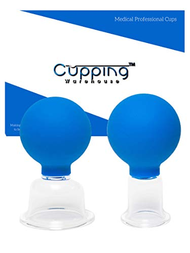- Cupping Warehouse Glass 2 Larger Face and Body Professional Massage Cupping Set- Clear Glass with Blue Silicone Suction Bulb: (1 Large and 1 X-Large Cup)