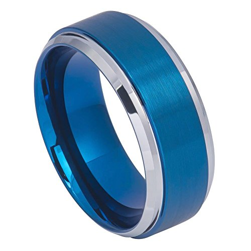 8mm - Man or Ladies - Tungsten Carbide Step Edge Blue Plated Brushed Center Wedding Band Ring Brushed Silver Step