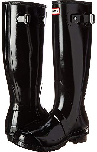 Hunters Boots Women's Original Tall Gloss Boots, Black, 9 M US -