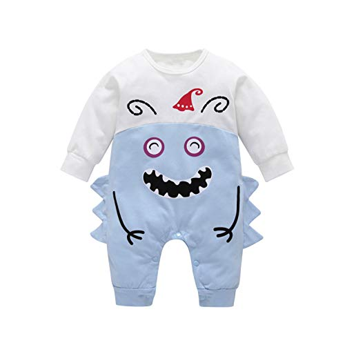 YOUNGER TREE Baby Boy Girl Cotton Outfits Cute Monster Romper Jumpsuit Bodysuit Onesie Costumes Clothes (White + Blue, 0-6 -