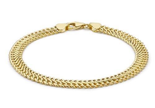 """Jewellery World Bague en or jaune 9carats creux tissé bracelet gourmette 19cm/7,5"""""""